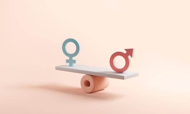 Мужской и женский символ на весах с балансом