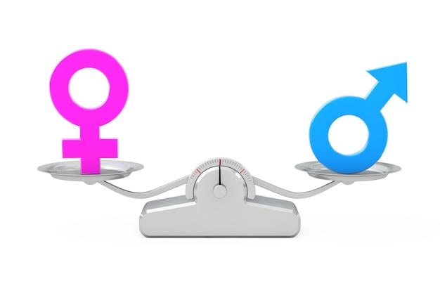 Мужские и женские символы, балансирующие на простой весовой шкале на белом фоне. 3d-рендеринг.