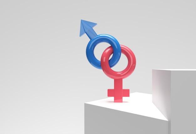 男性と女性のシンボルの組み合わせ3dレンダリングデザイン。