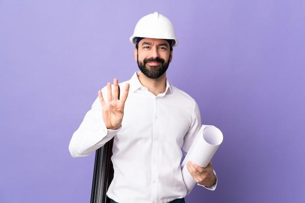 헬멧 포즈 남성 건축가