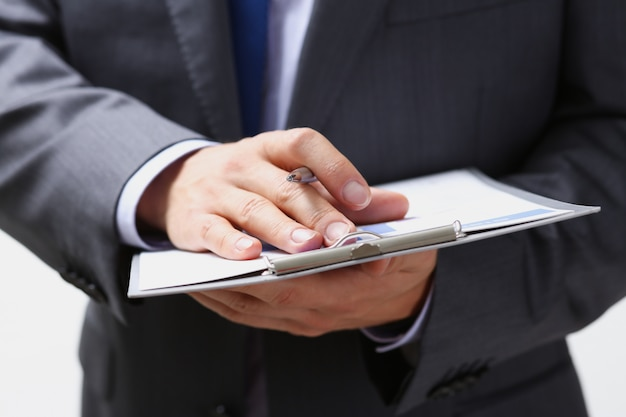 Male arm in suit and tie fill form clipped