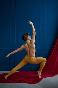 Male ballet dancer poses in dancing studio, blue walls and red cloth. performer with muscular body, grace and elegance of movements
