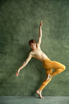 Male ballet dancer poses at grunge wall in dancing studio. performer with muscular body, grace and elegance of movements