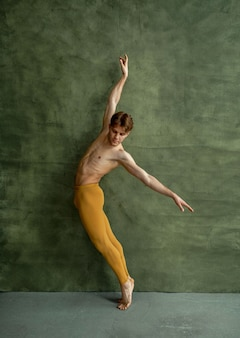 Male ballet dancer, training in dancing class, grunge wall. performer with muscular body, grace and elegance of movements