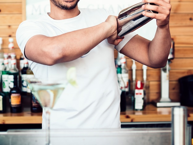 Male bartender mixing drink in shaker