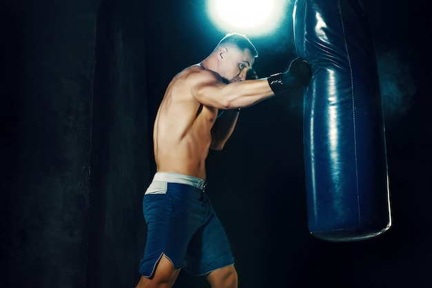 Boxer maschio nel sacco da boxe