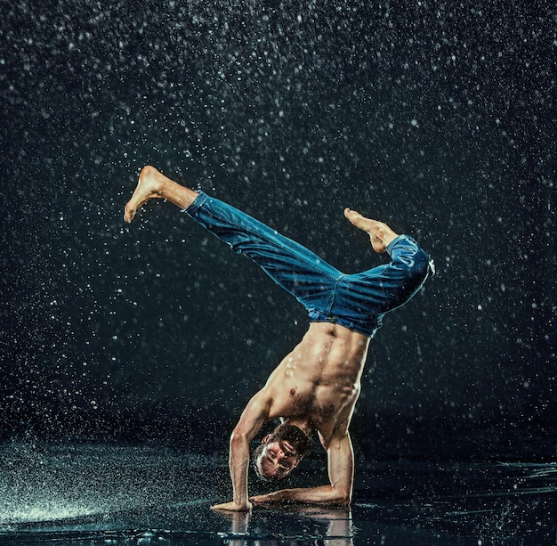 The male break dancer in water.