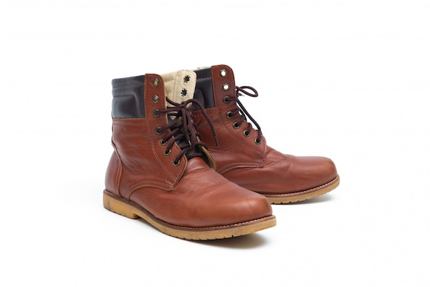 Male brown leather boot, footwear fashion isolated
