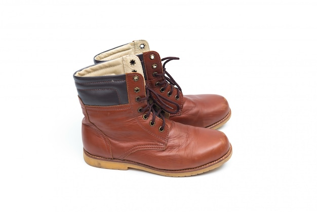 Male brown leather boots