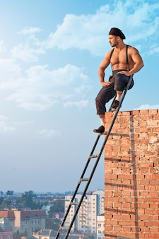 Male builder at the construction
