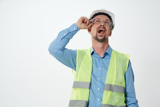 Male builders professional job light background