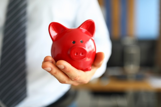 Male businessman hold in hand red little piggybank