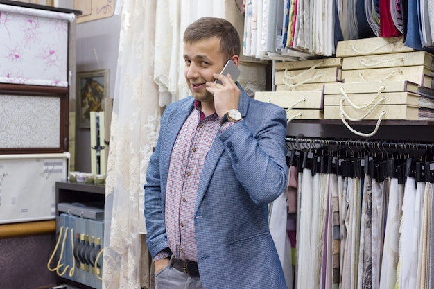 Male businessman talking on the phone