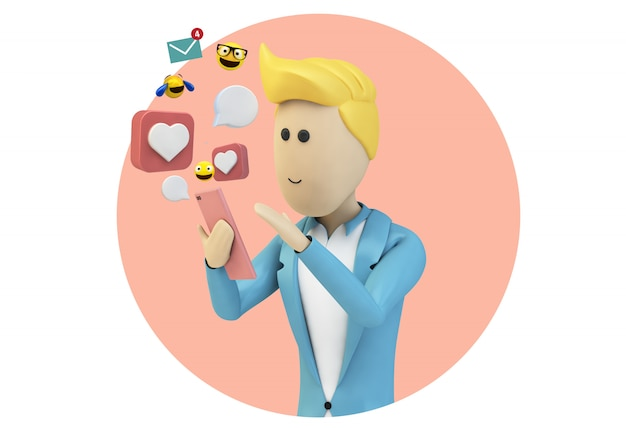 Male cartoon businessman character using smartphone
