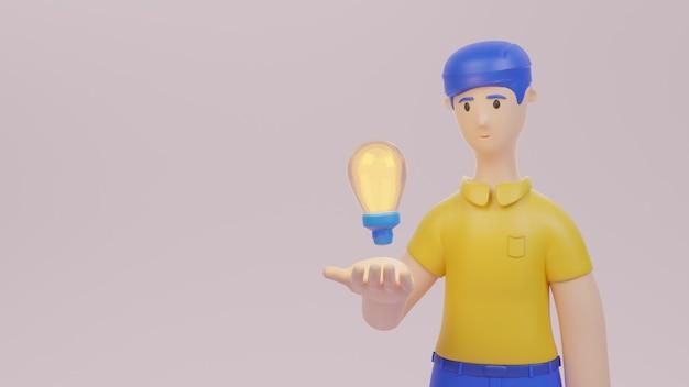 アイデアを持っている電球を保持している男性キャラクタービジネス開始3dレンダリングの概念図