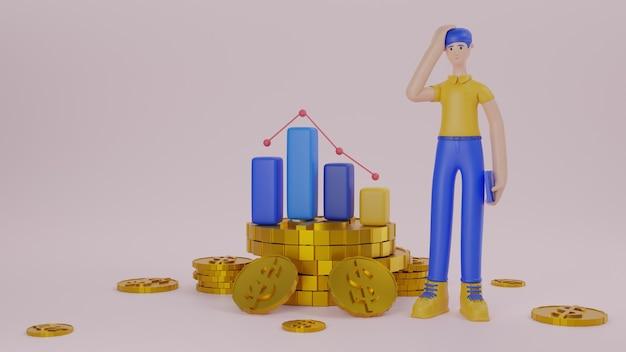 金貨と金融ビジネスの3dレンダリングを行うことについてのグラフの概念を持つタブレットデバイスを保持している男性キャラクター