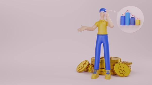 金貨と金融ビジネスの3dレンダリングを行うことについてのグラフの概念を持つ男性キャラクターの話電話デバイス