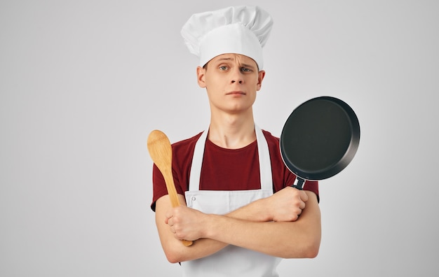Male chef apron cooking kitchen restaurant lifestyle. high quality photo