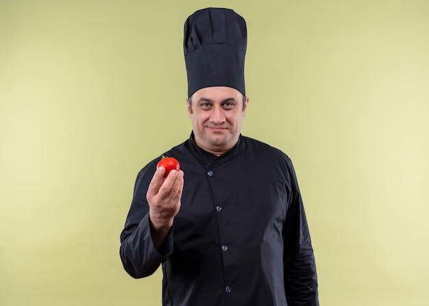 Cuoco unico maschio che indossa l'uniforme nera e cappello da cuoco che mostra il pomodoro sorridente guardando la fotocamera in piedi su sfondo verde