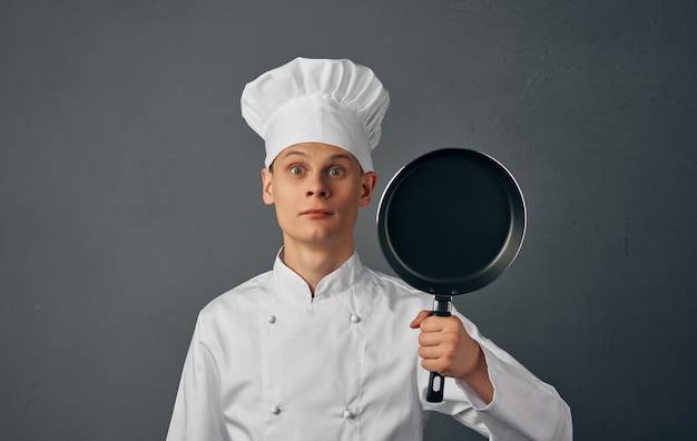 Male chef cooking food hand gestures restaurant food preparation service.