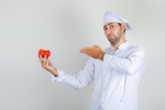 フレッシュトマトを示す白い制服を着た男性シェフ