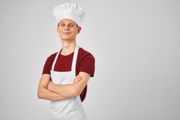 Мужской шеф-повар профессиональная форма работы ресторана. фото высокого качества