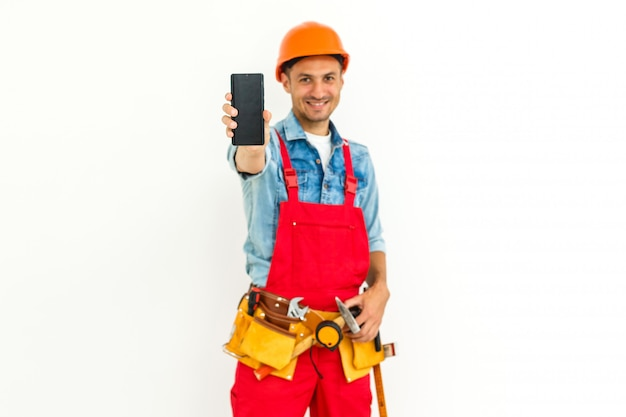 Male construction worker with short black hair on uniform isolated