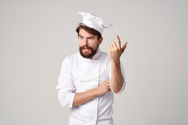 男性料理人シェフ制服料理感情孤立した背景
