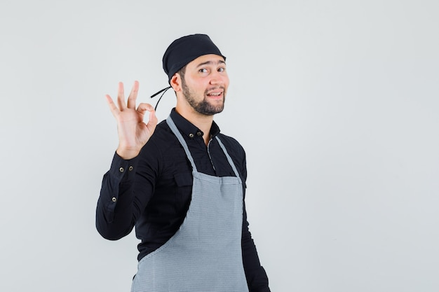 シャツを着た男性料理人、エプロンは大丈夫なジェスチャーを示し、自信を持って見える、正面図。