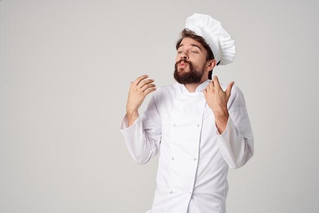 男性料理人キッチン仕事手ジェスチャー孤立した背景