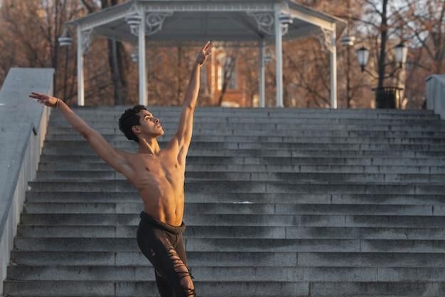 Male dancer in graceful ballet position