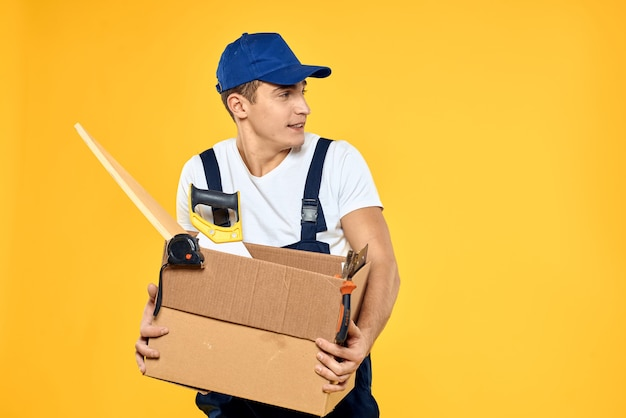 Male delivery man delivery package to the recipient, contactless payment and receipt of goods