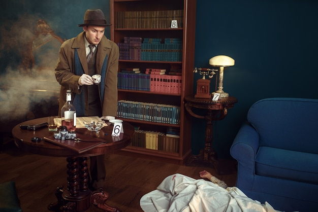 Male detective with cap of coffee at the crime scene, retro style.