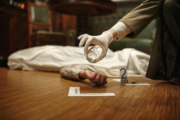 Male detective with magnifying glass looking evidence at the crime scene, retro style. criminal investigation, inspector is working on a murder, vintage room interior