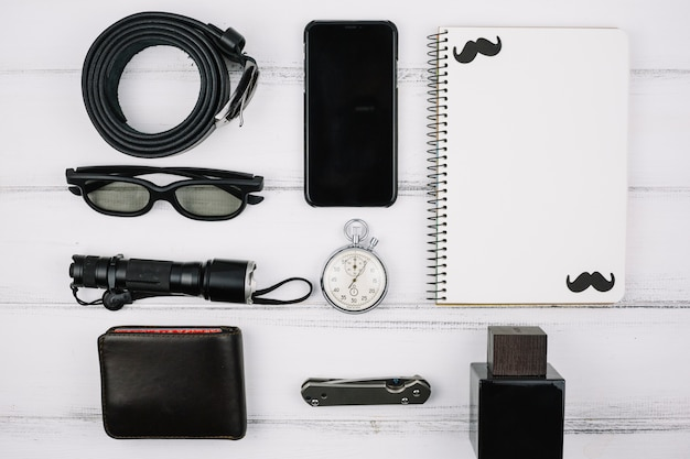 Male devices and accessories on desk