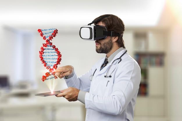 タブレットから出てくる仮想dnaを見ている彼のオフィスの男性医師