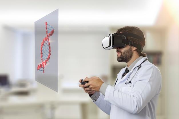 バーチャルリアリティメガネを使用して、仮想dnaを見ている彼のオフィスの男性医師