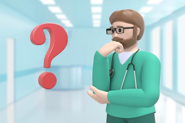 Мужской доктор в медицинском интерьере больницы и вопросительный знак. проблема, решение, проблема. мультяшный человек.