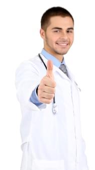 白で隔離される男性医師