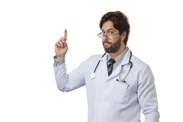 Мужчина-врач указывая вверх.