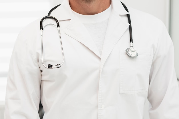 Male doctor robe with stethoscope on shoulders