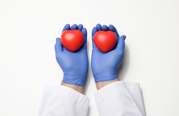 Male doctor's hand in blue latex gloves and white coat holding a red heart, donation concept, white surface