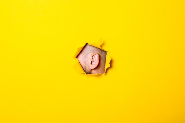 Мужской ухо выглядывает из разорванной дыры