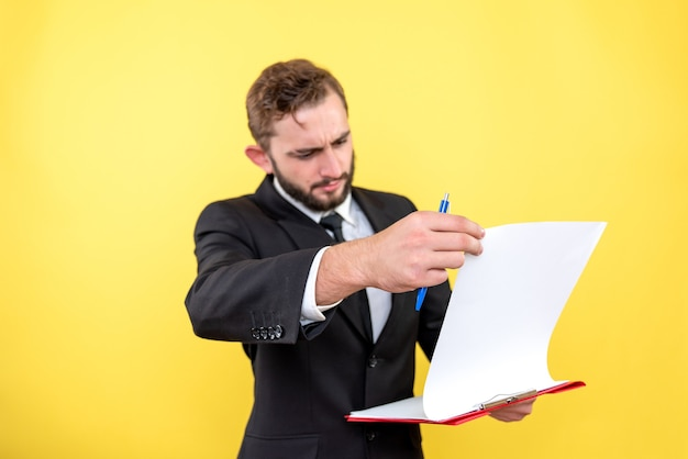Male executive doing hand controlling Free Photo