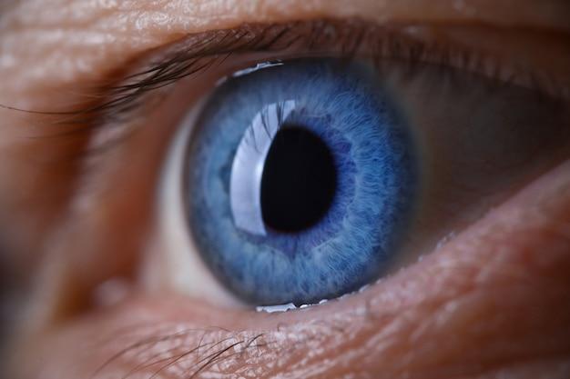 Male eye blu color super macro closeup shot.