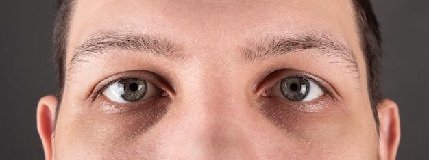 男性の目はパノラマを見てクローズアップします。