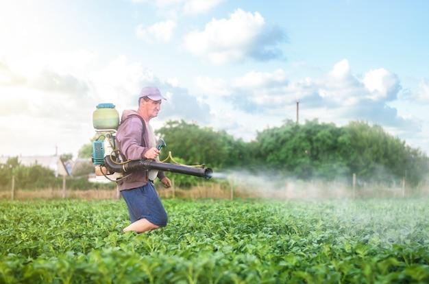 분무기가 있는 남성 농부는 화학 물질로 감자 덤불을 처리합니다. 식물 보호
