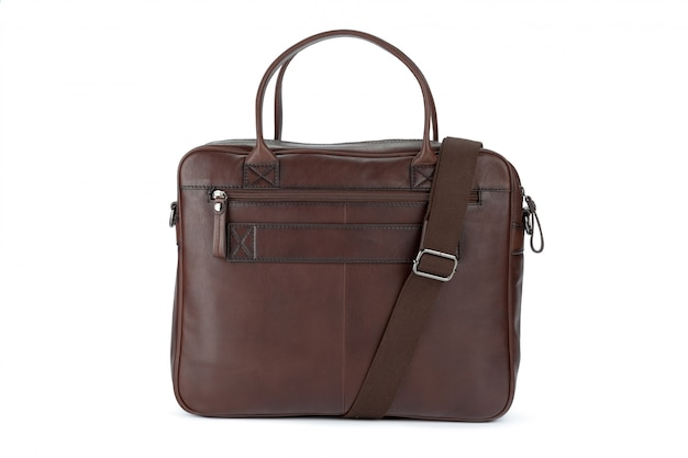 Male fashion leather handbag isolated on white background