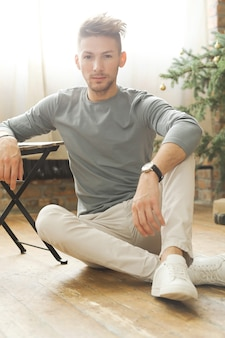Male fashion, young man posing