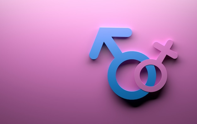 Male female gender symbols in pink and blue